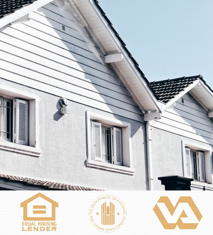 """The upper side view of a duplux with 3 windows. Display of 3 horizontal icons below consisting of an outline of a home with text """"Equal Housing Lender"""", an artistic interpretation of an eagle logo with text """"U.S Department Of Housing And Urban Development"""" and an ouline graphic of """"VA"""""""